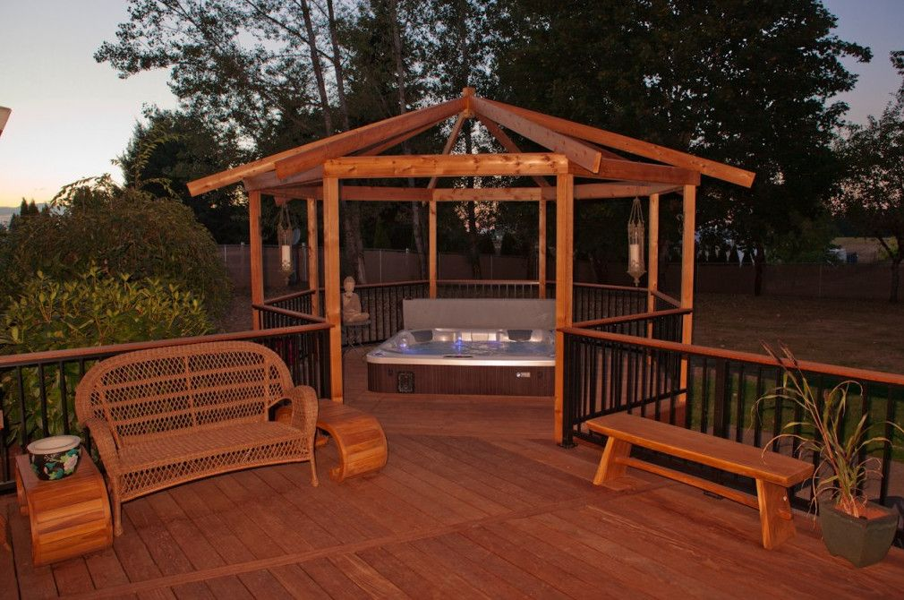 Hot Tub Design Ideas gorgeous decks and patios with hot tubs Use Hot Tub Deck Design Ideas For The Extraordinary Beautification