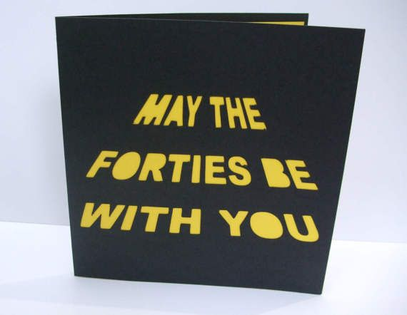 This Fun 40th Birthday Card Has Been Cut On Black Card With The