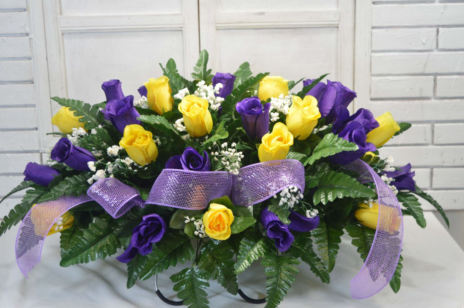 Yellow And Purple Valentine Cemetery Flower Arrangement Designs By