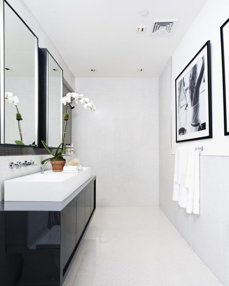 Superb Modern Bathroom Design In Black And Whtie Color Theme With A Nice Vessel  Sink And A