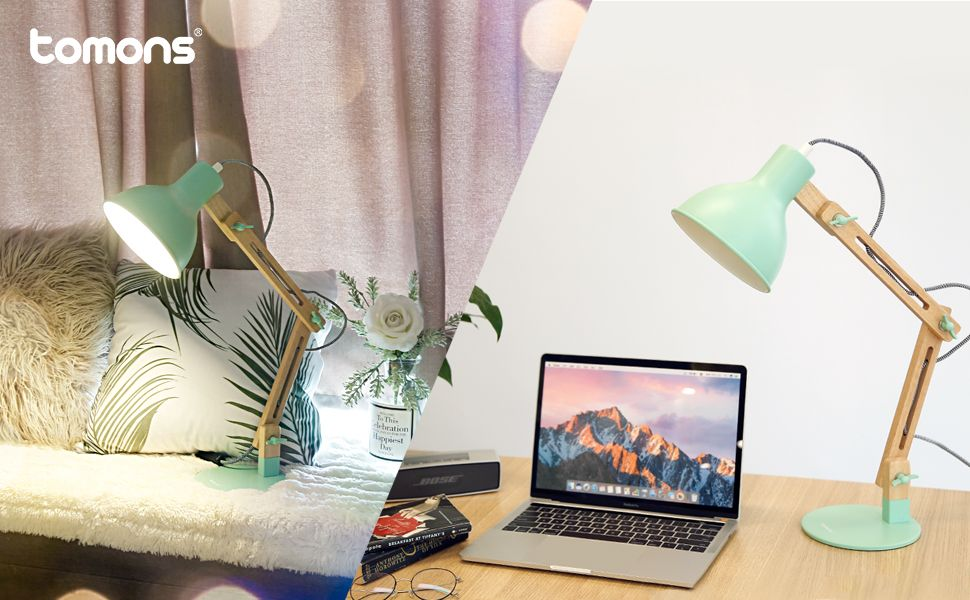 Tomons Swing Arm Led Desk Lamp Wood Designer Table Lamp Reading Lights For Living Room Bedroom Study Bedside Night Stands Table Lamp Design Led Desk Lamp #reading #lamp #for #living #room