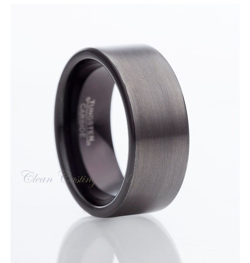 Gun Metal Tungsten Wedding BandMens Tungsten RingMen Tungsten