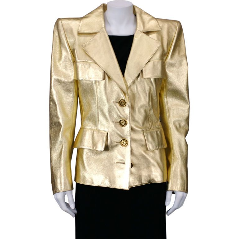1stdibs.com | YSL Haute Couture Gold Leather Jacket