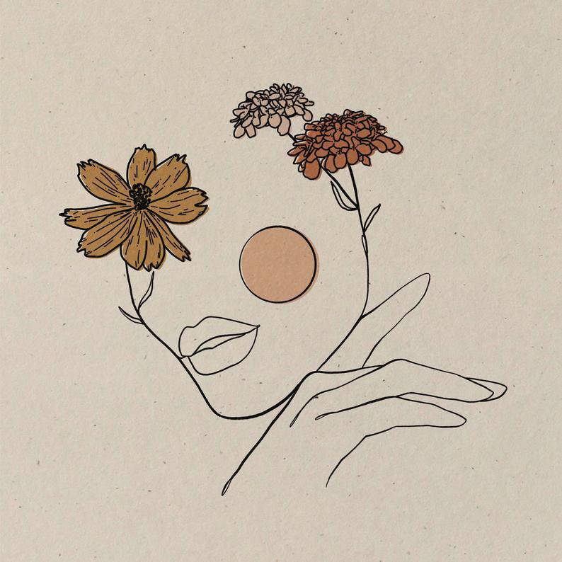 Grow Untamed || Art Print || Vintage Inspired Art || Inspirational Art || Boho Art Print || Woman Flower