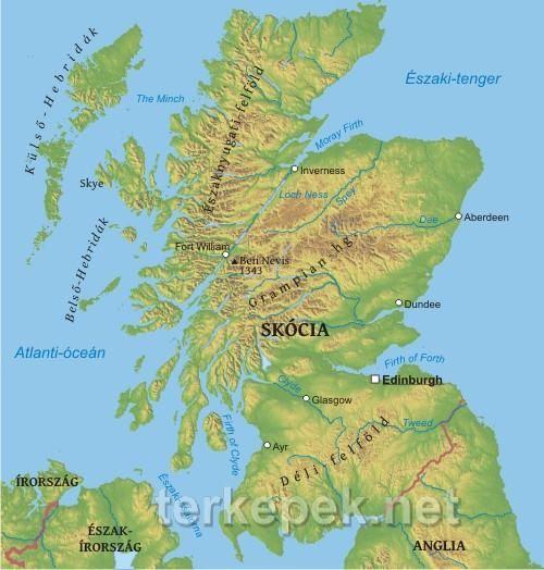 Skocia Terkepe Irorszag Tenger Es Anglia