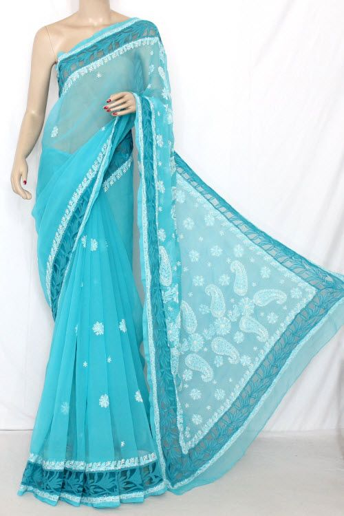 Pherozi Blue Designer Hand Embroidered Lucknowi Chikankari Saree (With Blouse - Georgette) 13745