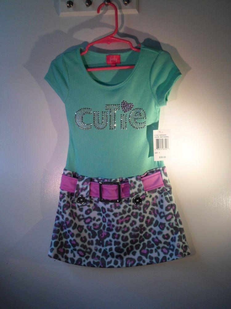 "Girls sz 4 Dress Animal Print Skirt & Mint ""Cutie"" Top Pinky Brand NWT #Pinky #Everyday"
