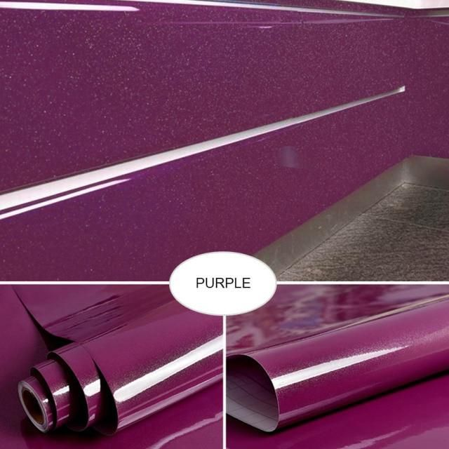 Pearl White DIY Decorative Film PVC Self adhesive Wall paper Furniture Renovation Stickers Kitchen Cabinet Waterproof Wallpaper - PEARL Purple / 1m x 40cm