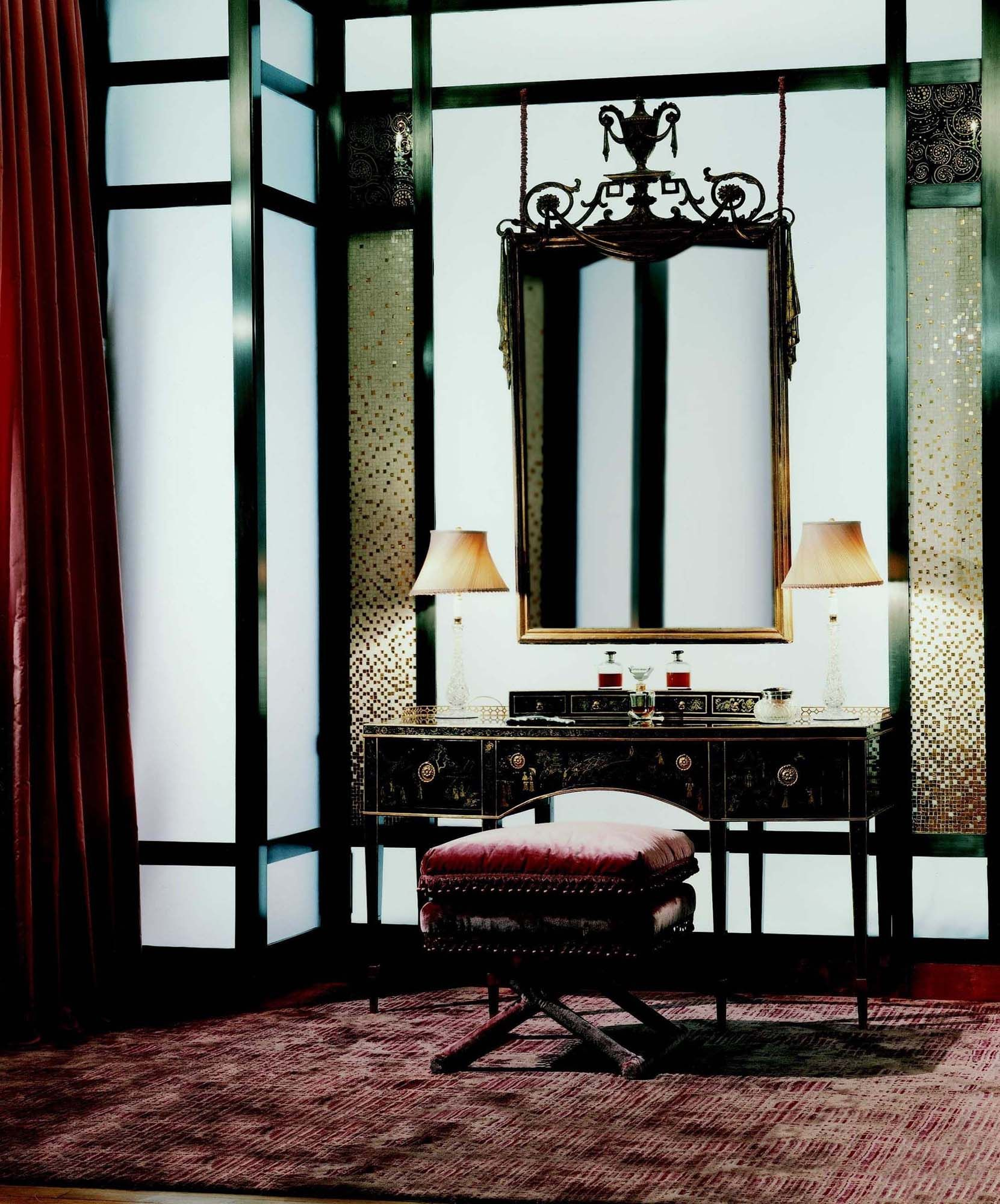 A powder room with sand-blasted glass, patinated steel, micro-mosiacs and eglomise.