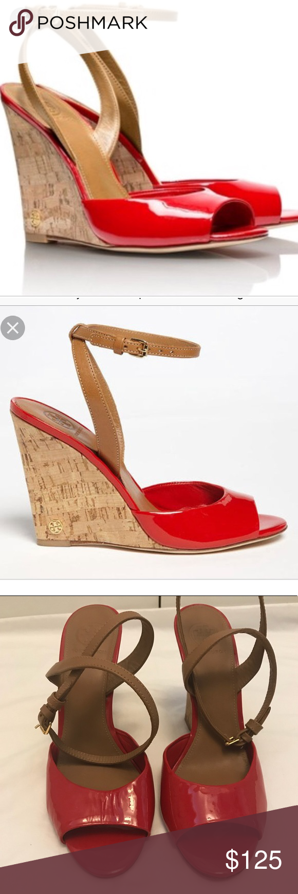 f2a4bee84b115f Tory Burch Ashton wedge Perfection! Tory Burch Ashton red patent leather  wedges! Worn a few times. No significant flaws
