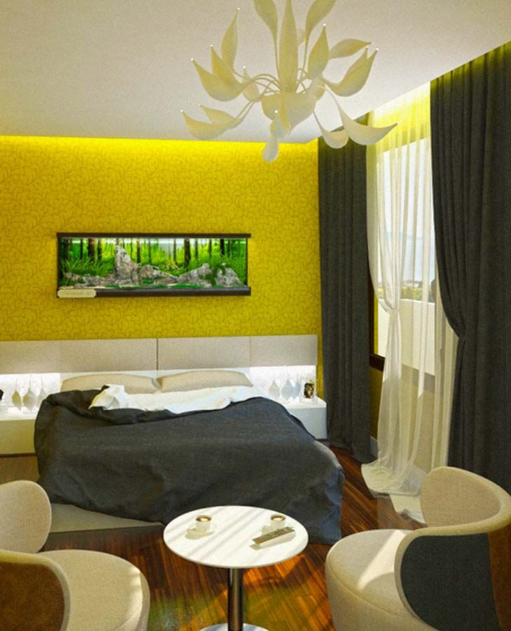 spacious bedroom grey curtains yellow wall wood floor Living Room