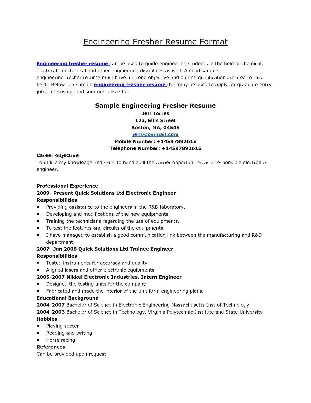 Resume formats for fresher engineer free resume