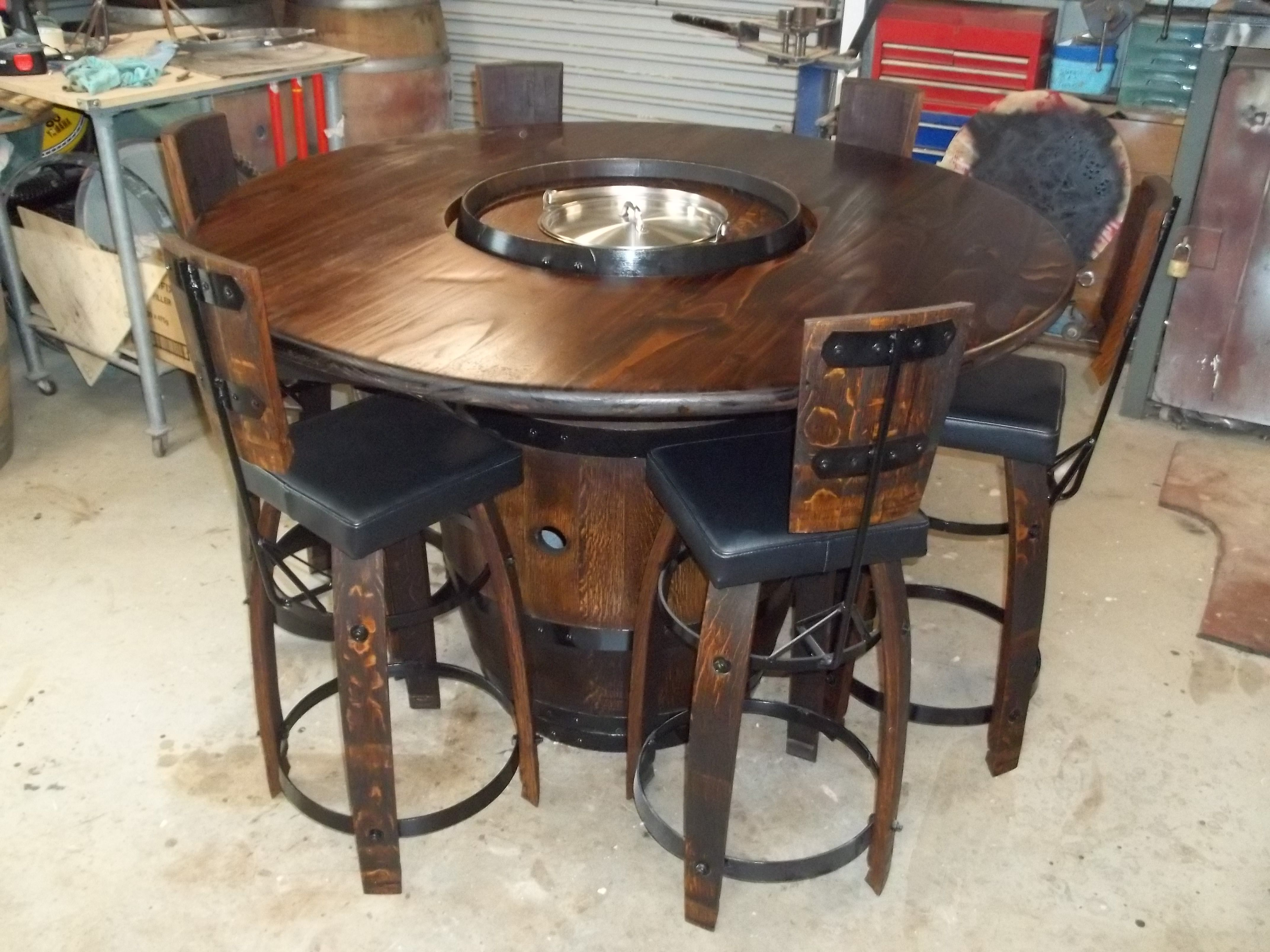 Wine Barrel Bistro Table With A Ice Bucket Cut Into The Barrel. Table Top On Part 81