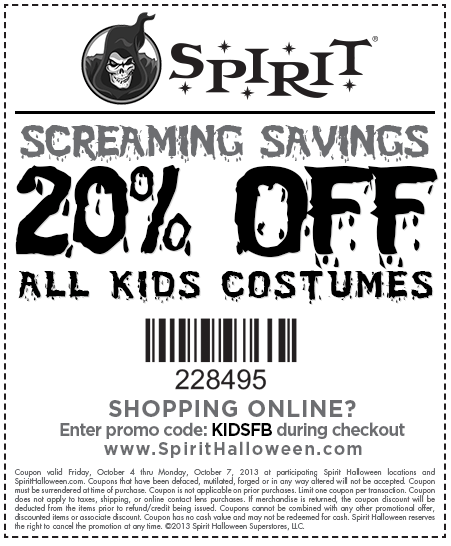 spirit halloween coupon spirit halloween promo code from the coupons app kids costumes are off at spirit halloween or online via promo code kidsfb