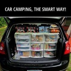 Car Camping Tricks To Try On Your Next Trip 27 Clever Car Camping Tricks To Try On Your Next Trip  Trunk organizer trunk organization trunk shelf SUV trunk DIY trunk stor...
