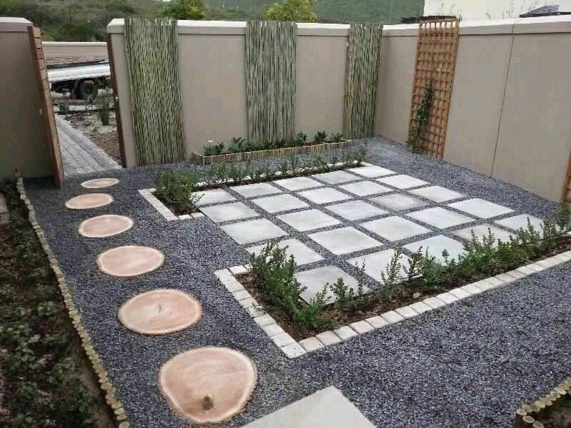 garden pebbles stones paving slabs