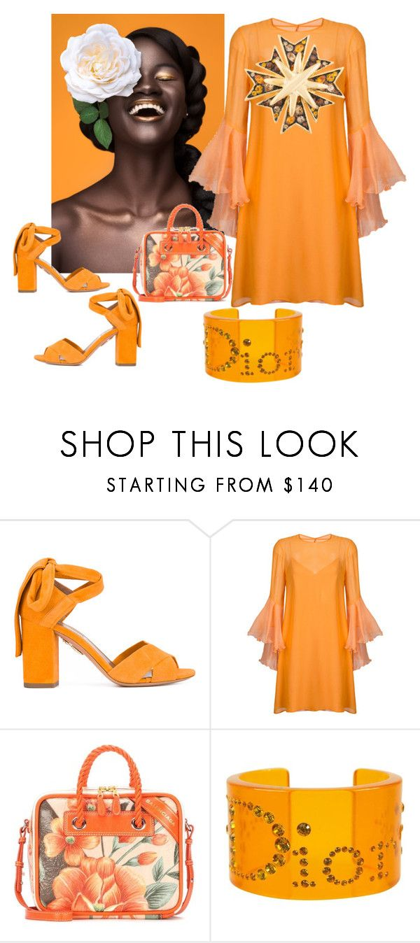 """""""Lovely in Orange Diva!"""" by dmdivagirl ❤ liked on Polyvore featuring Aquazzura, Galvan, Balenciaga, Christian Dior and Kenneth Jay Lane"""