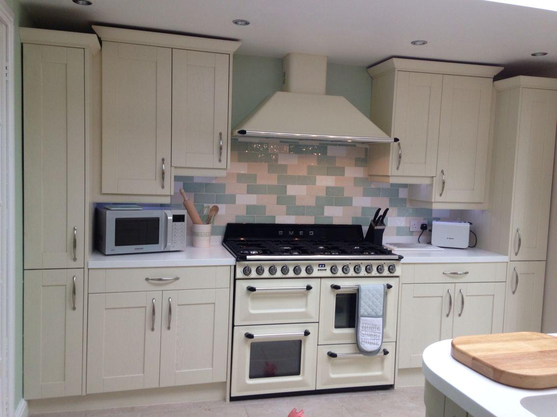 Wren kitchen shaker style sage green and alaska cream for Smeg kitchen designs