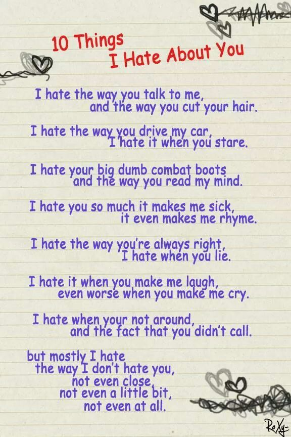 Poem From The Movie 10 Things I Hate About You Was Kinda
