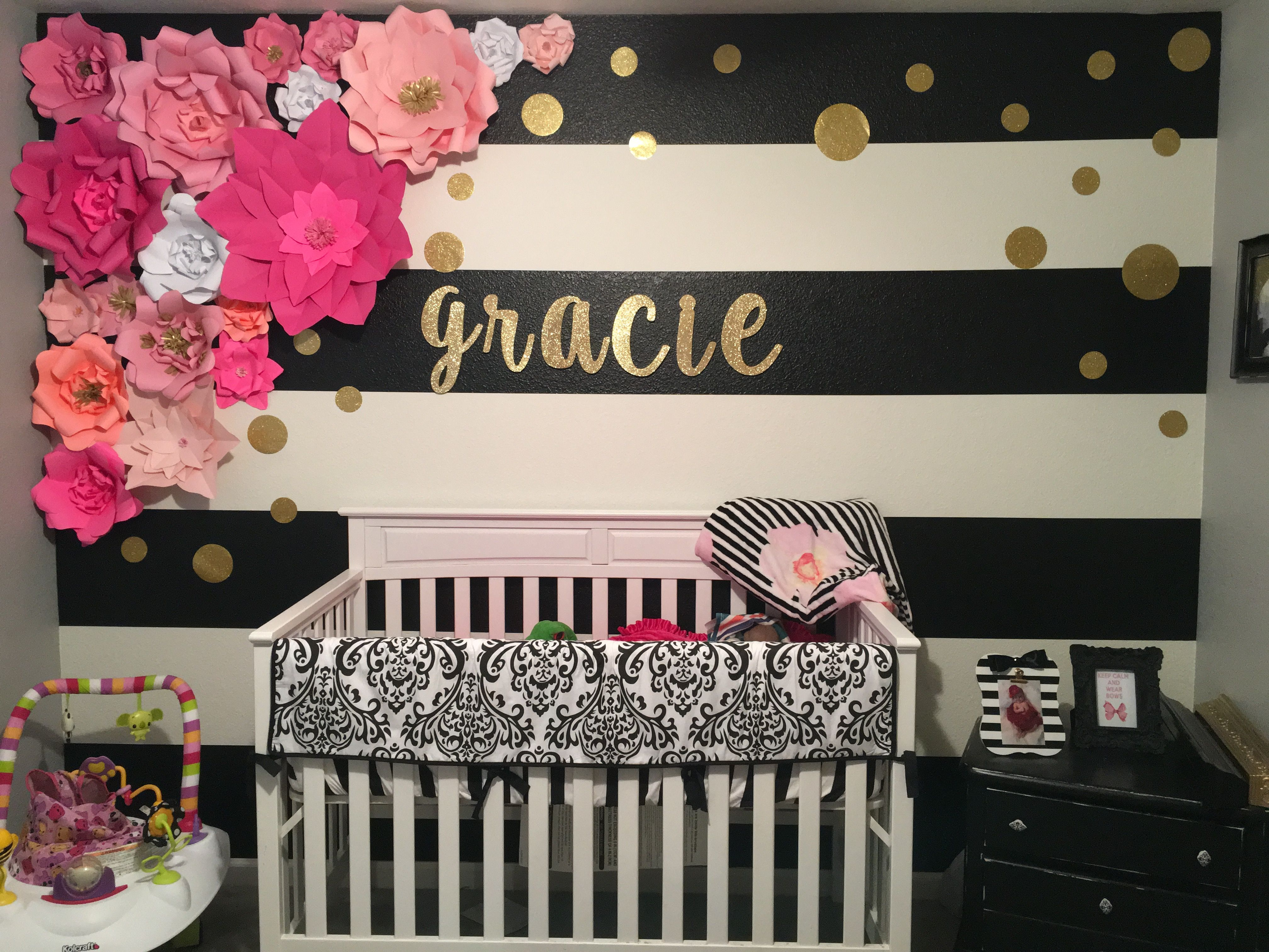 Baby Girl Room Ideas Pink And Black kate spade themed room. large paper flowers. black and white striped
