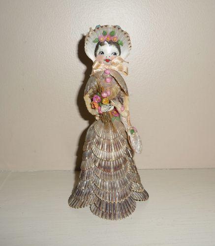 Antique Folk Art Shell Work Doll #1
