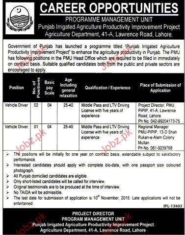 Vehicle Drivers Work In Punjab Government Office Jobs In Pakistan Driver Job Jobs In Pakistan Driver Work