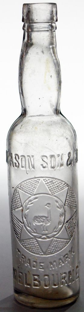 Dyason, Son & Co., Melbourne. Emu in a wreath in a geometric shape trade mark. Clear or very pale amethyst. Rarer small 13 oz size. c1910s.