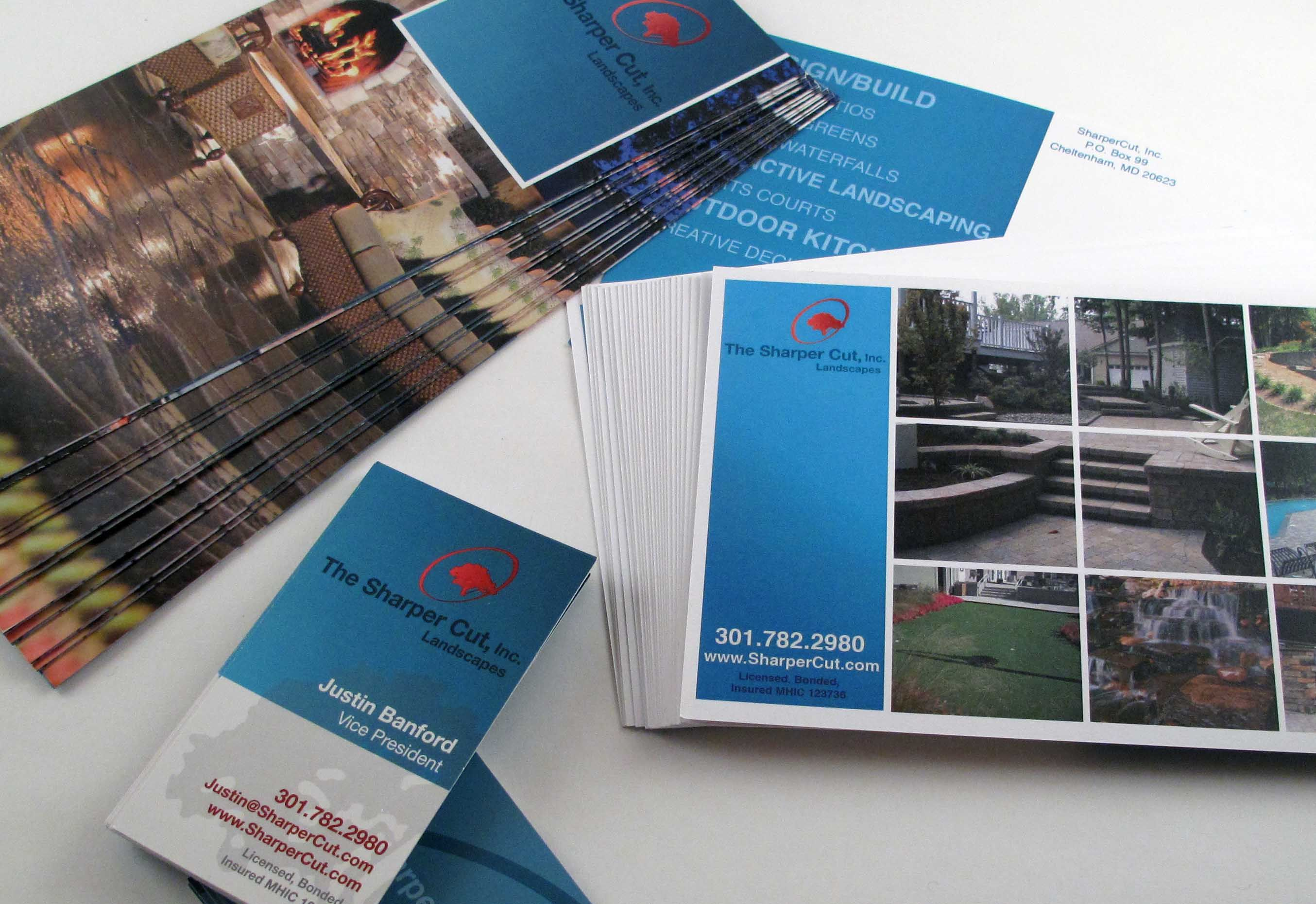 brochure postcards and business cards for the sharper cut inc