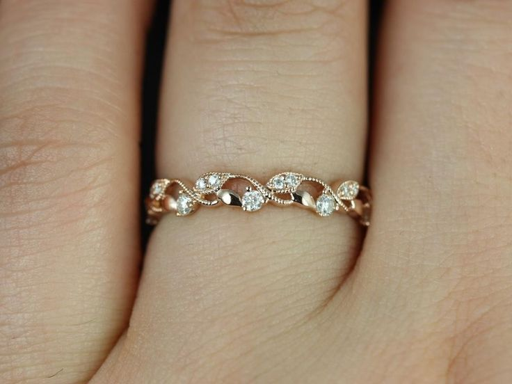daphine rose gold thin weaving leaves diamonds berries halfway eternity band available in other metals gift for women and girls wedding - Leaf Wedding Ring