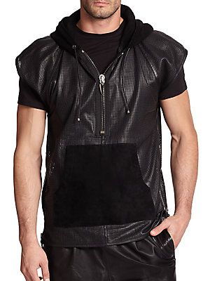 9d64774537a43 Giuseppe Zanotti Perforated Short-Sleeve Leather Hoodie - Black ...