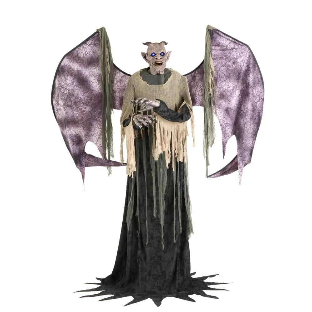 Home Accents Holiday 7 5 Ft Animated Life Sized Winged Demon 5124727 The Home Depot Scary Halloween Decorations Halloween Decorations Scary Halloween