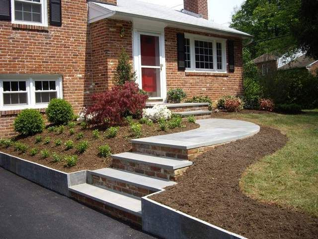 Split level brick homes landscaping ideas for split for Split level garden designs