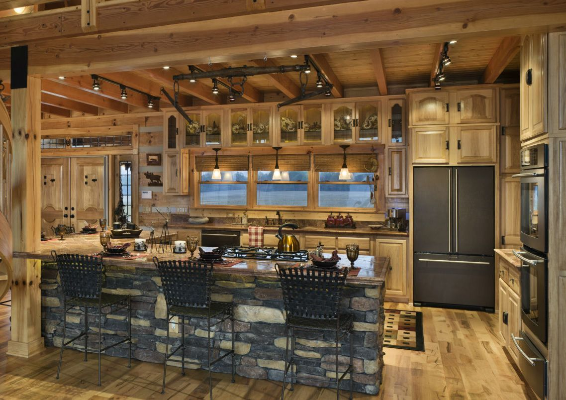Kitchen Room:Design Luxury Log Cabin Homes Interior Stunning Corner ...