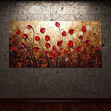 HCOZY Art - herbe Fleurs 100 peints à la main Peintures Toile