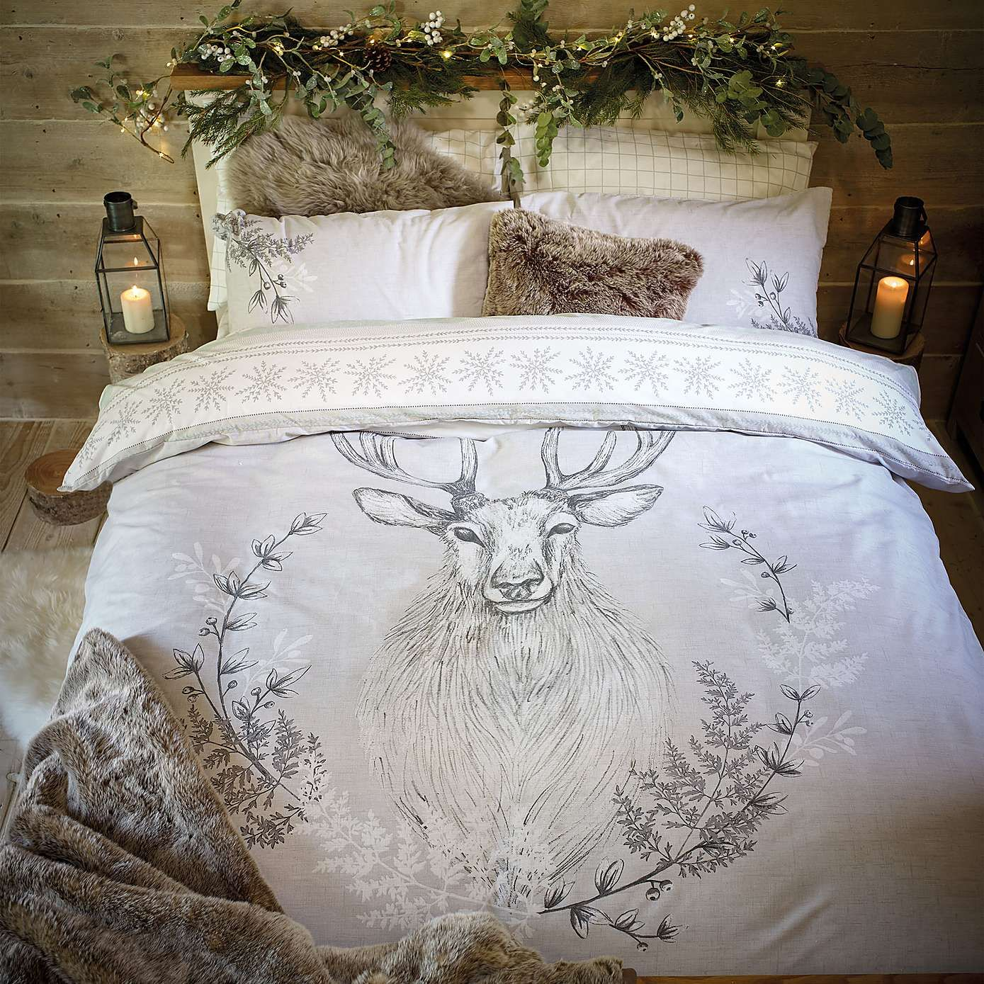Stag Head Natural Duvet Cover Set Dunelm Bed Linens
