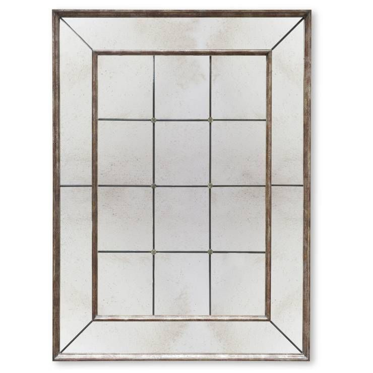 Panelled mirror in Tarnished silver