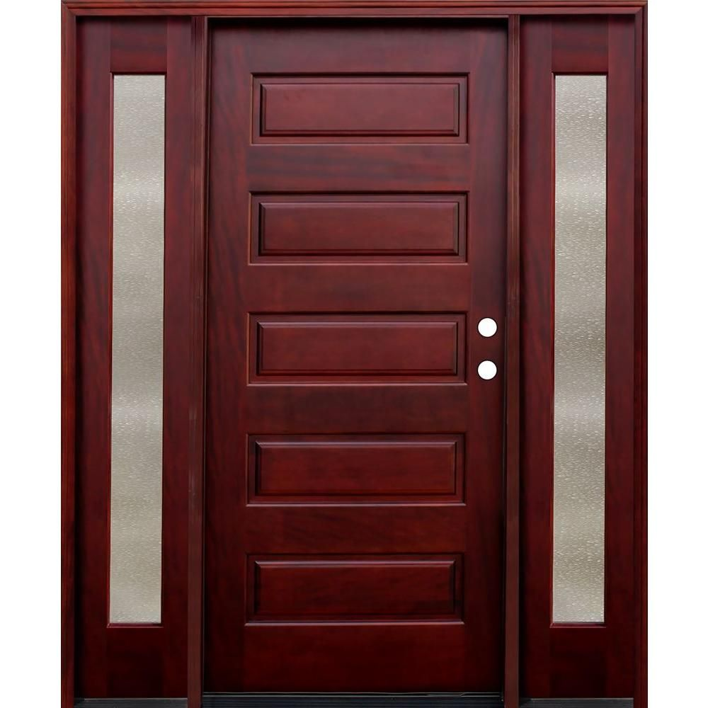 Pacific Entries 70 In X 80 In Contemporary 5 Panel Stained Mahogany Wood Prehung Front Door With 12 In Seedy Sidelites M55ml412sd The Home Depot Door Design Interior Wood Doors Interior Wood Entry Doors