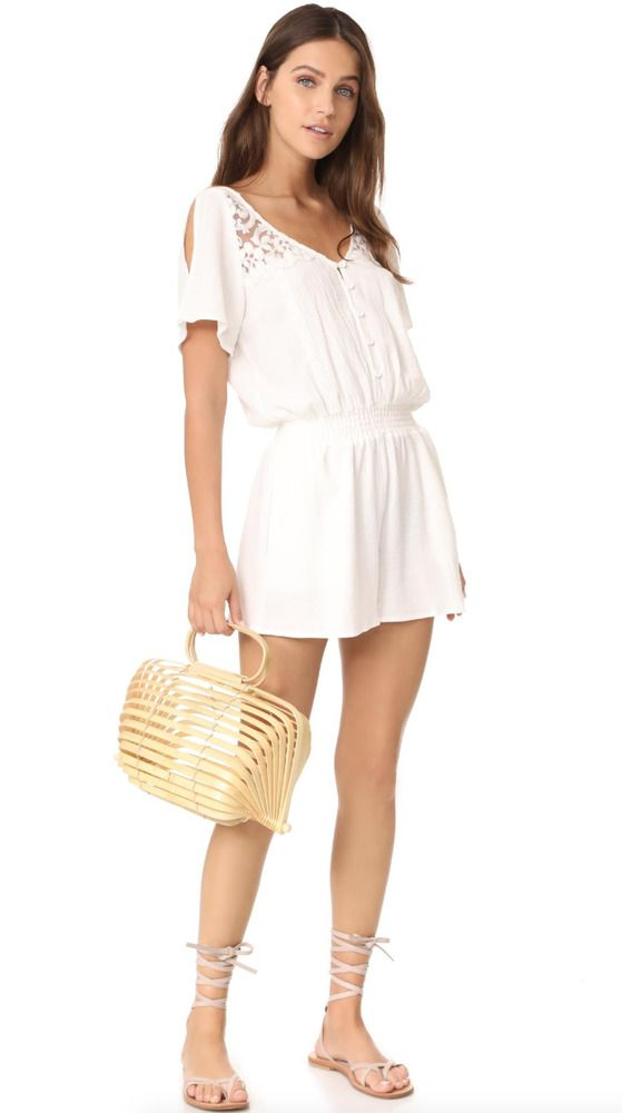 853c362be59 L SPACE Short Sleeve V-Neck Lace Meadow Romper Jumpsuit Ivory White S  119   LSpace  Jumpsuit  Casual