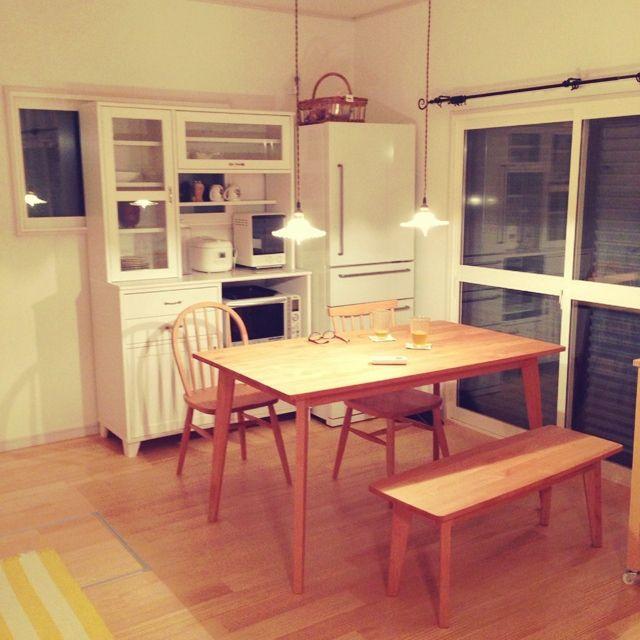 部屋全体 狭いダイニングキッチン 狭い我が家 モモナチュラル 無印