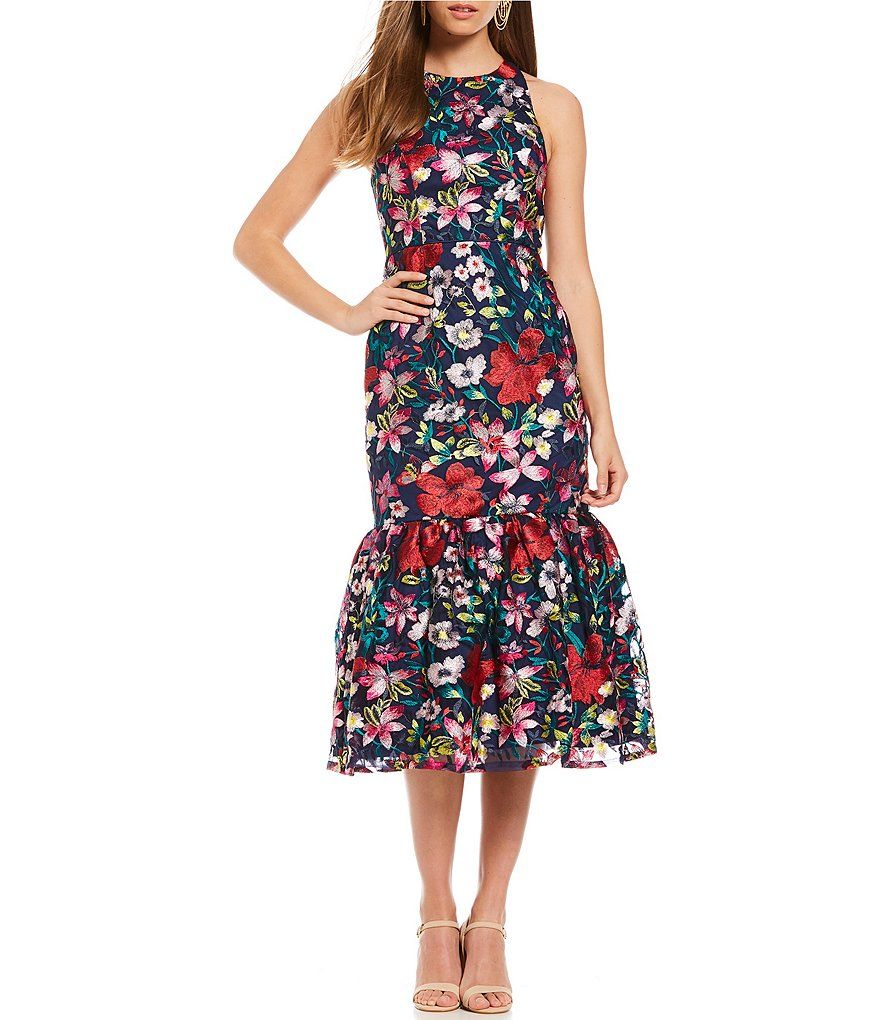 8a437854787 Gianni Bini Misty Floral Embroidered Fluted Midi Dress