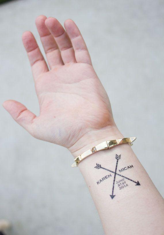 Custom Arrow Wedding Tattoos With S Names And Date Www Kristenmcgillivray Etsy