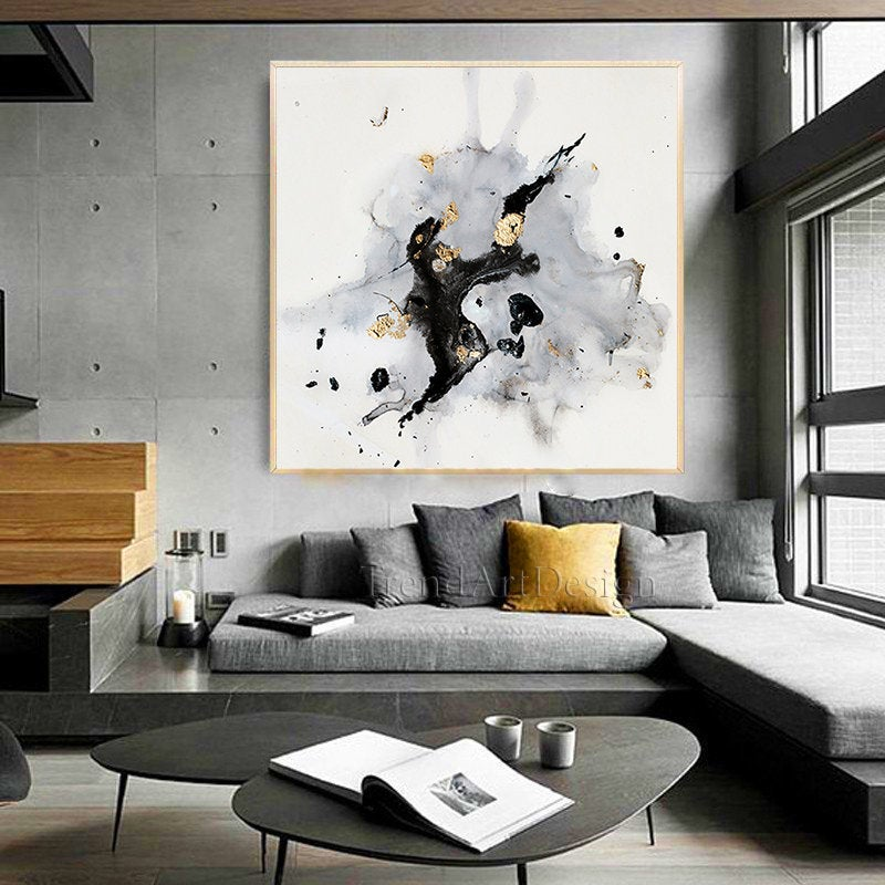 minimalist white black gray wall art with gold leaf on wall art for home id=65449