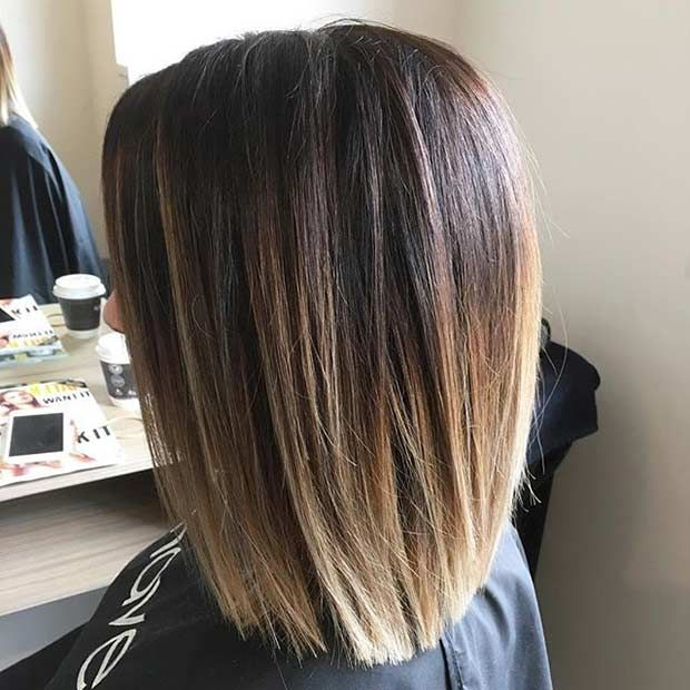 Sombre Blunt Long Bob Haircut StayGlam Hairstyles Bob