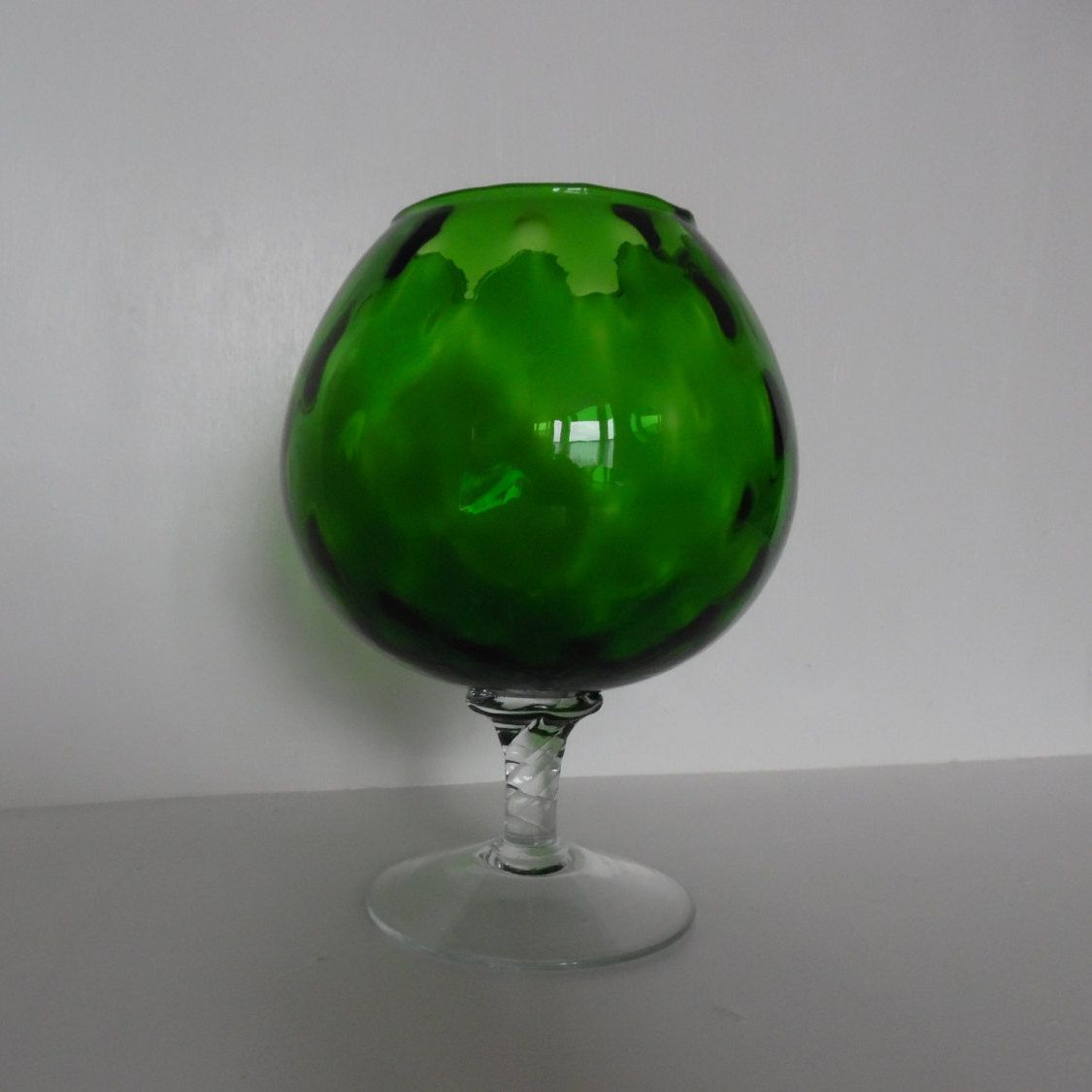 Large green baloon glass vase giant brandy snifter optic large green baloon glass vase giant brandy snifter optic glass mid century reviewsmspy