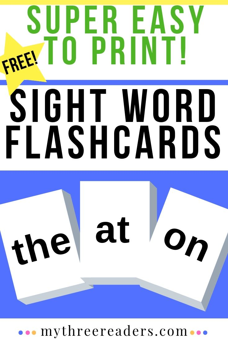 Sight Words Flash Cards! Free, printable flashcards for