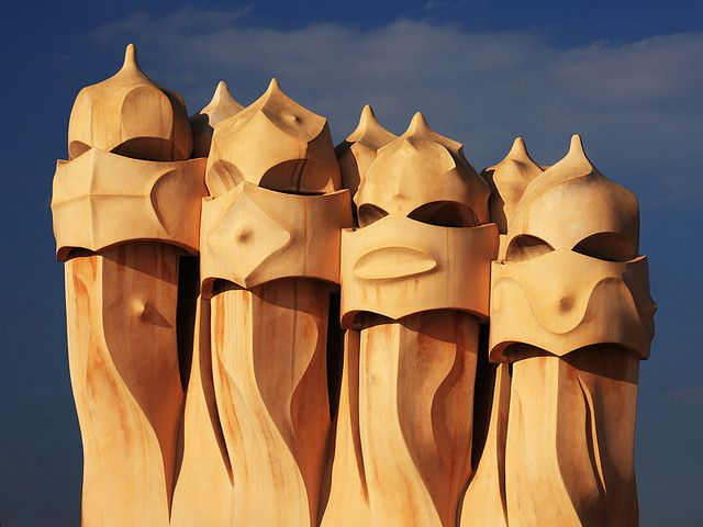 Gaudi, chimneys of La Pedrera