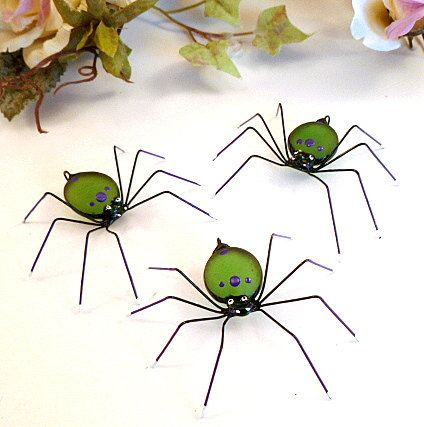 Green and Purple Spiders Five Hanging Handmade by SpiderwoodHollow, $25.00