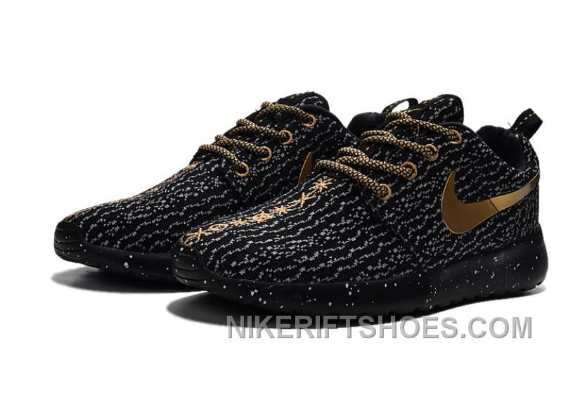 6f0008e40ed7 2015 Winter Latest NIKE Roshe One X Yeezy 350 Flyknit Women Running Shoes  Black Golden Discount