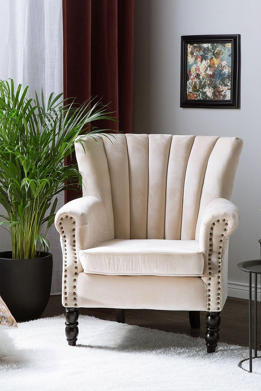 Fotel Welur Beżowy Svedala Salon W 2019 Meble Wnętrza I