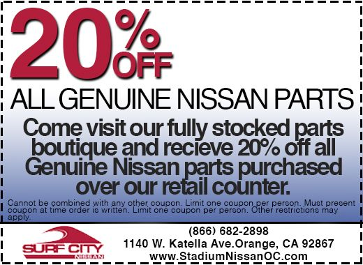 Surf City Nissan >> 20 Off Nissan Parts Coupon At Surf City Nissan In